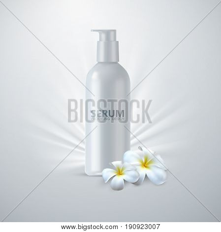 Anti age serum packaging. Cosmetics product ads poster template. Cosmetic mockup design. White cream tube with flowers. 3d vector beauty illustration.