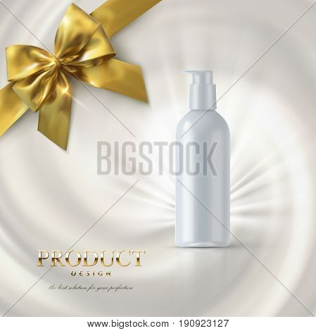 Cosmetics product ads poster template. Cosmetic mockup design. White cream tube package on swirling creamy background with golden bow. 3d vector illustration.
