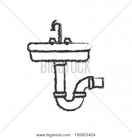 monochrome blurred silhouette of washbasin and drain pipe vector illustration