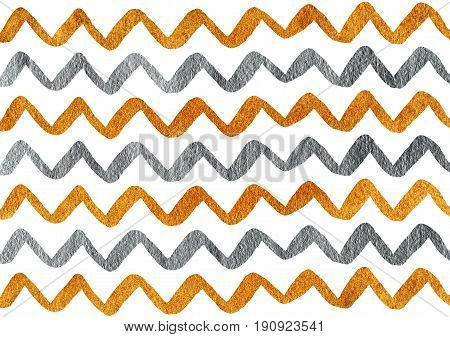 Silver And Golden Hand Drawn Stripes Background, Chevron.