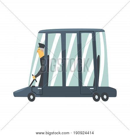Black cartoon limousine car with driver vector Illustration isolated on a white background