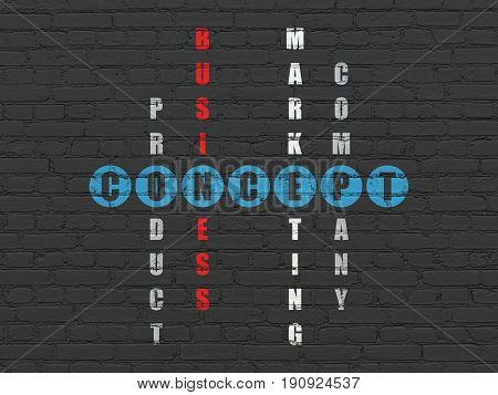 Marketing concept: Painted blue word Concept in solving Crossword Puzzle
