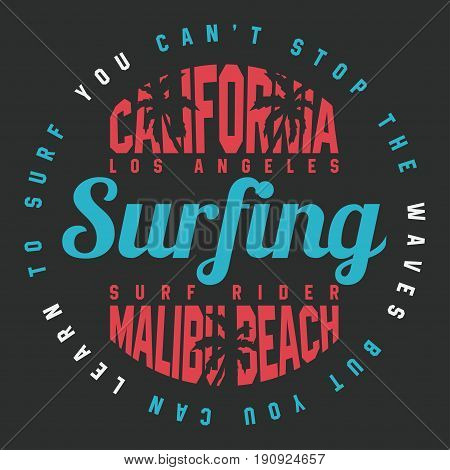 California Surf Typography For T Shirt Print. T-shirt Graphics