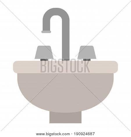 white background with color silhouette of washbasin icon vector illustration