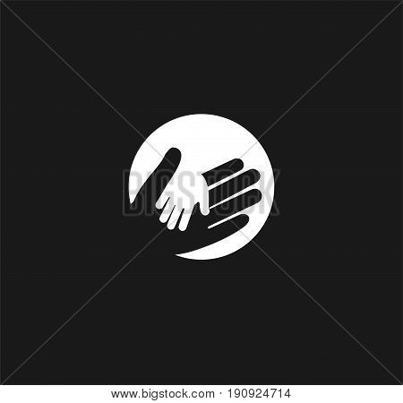 Holding Hand of a child in the hand of an adult vector logo. World Father Day. Symbol of care, kindness, family, children, parents. Light lantern ray hand shadow