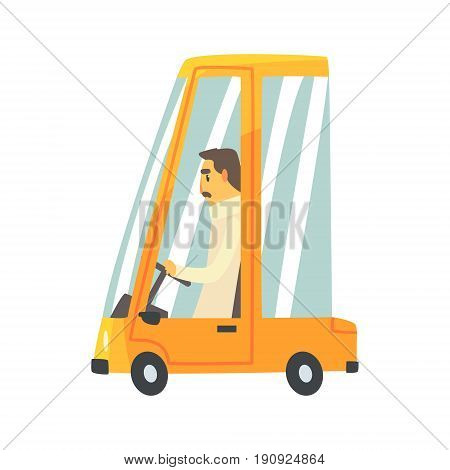 Yellow cartoon car with driver vector Illustration isolated on a white background