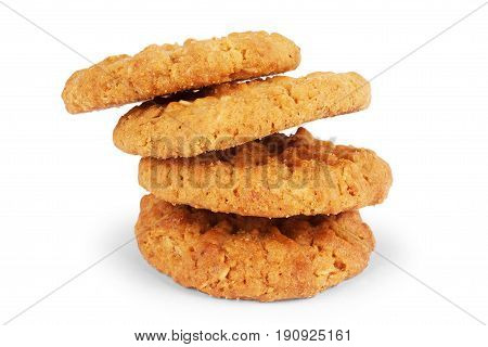 Oat cookie isolated on white background Crunchy, No-one, Molasses, Treacle, Heatlhy