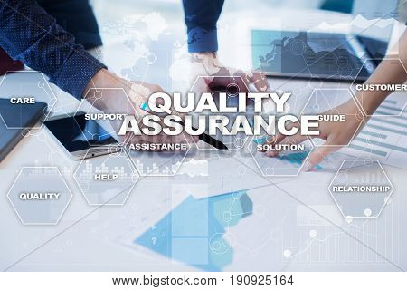 Quality assurance concept.Quality assurance on virtual screen. Business concept.