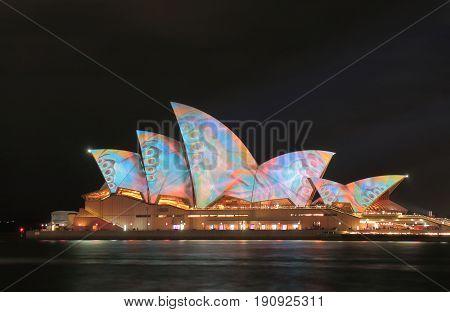 SYDNEY AUSTRALIA - MAY 31, 2017: Opera house night illumination in Sydney Australia