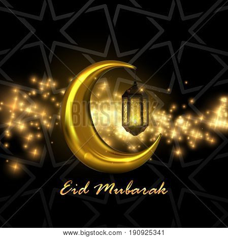 Eid Mubarak. Vector islamic religious illustration of Eid Mubarak label and crescent golden moon with glowing arabic lantern. Muslim holiday postcard design