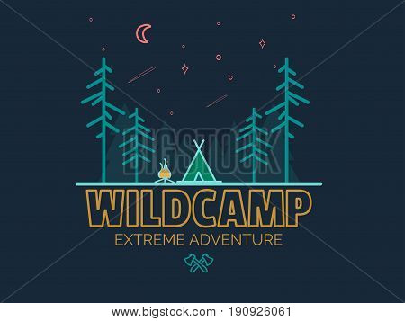 Stay Wild Camping Child , Hand Drawn t Shirt Print, camping and adventure forest badge logo, emblem logo, label design. illustration