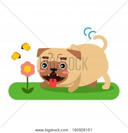 Funny pug dog character walking in the park vector Illustration isolated on a white background