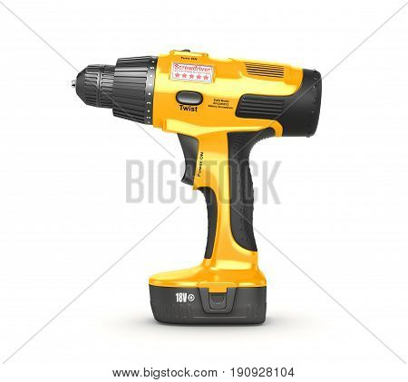 Cordless screwdriver isolated on white background. 3d illustration