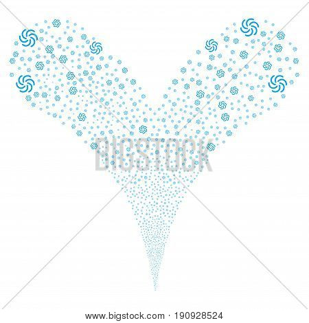 Galaxy fireworks stream. Vector illustration style is flat blue iconic galaxy symbols on a white background. Object fountain organized from random icons.