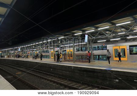 SYDNEY AUSTRALIA - MAY 31, 2017: Unidentified people travel at Central train station.