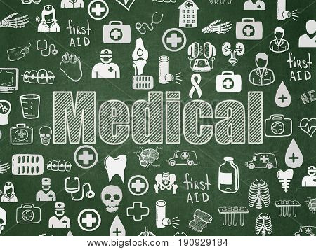 Medicine concept: Chalk White text Medical on School board background with  Hand Drawn Medicine Icons, School Board