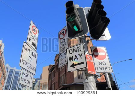 Traffic road sign in downtown Sydney Australia