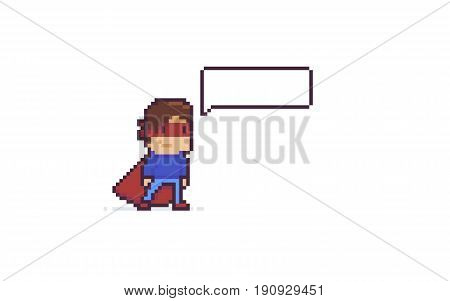 Pixel art super hero character with comic speech bubble