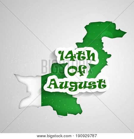 illustration of 14th of August text in Pakistan Map background on the occasion of Pakistan Independence day