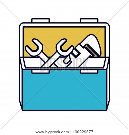 color sections silhouette of opened plumbing toolbox vector illustration