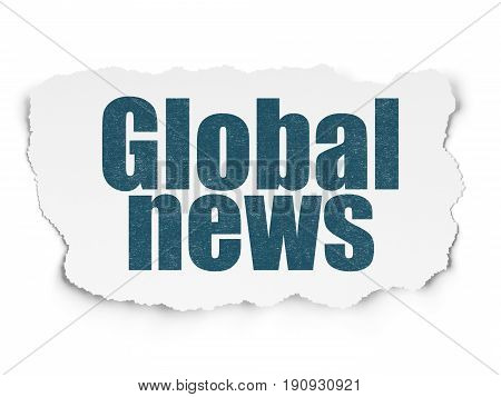 News concept: Painted blue text Global News on Torn Paper background with  Hand Drawn News Icons