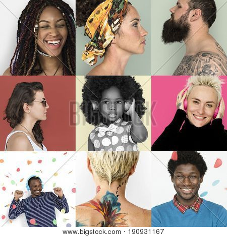 Collages diverse people ethnic variation