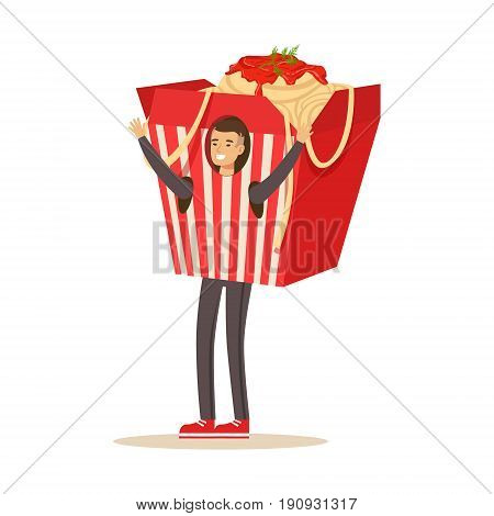 Man wearing chinese noodles takeaway box costume, fast food snack character vector Illustration isolated on a white background