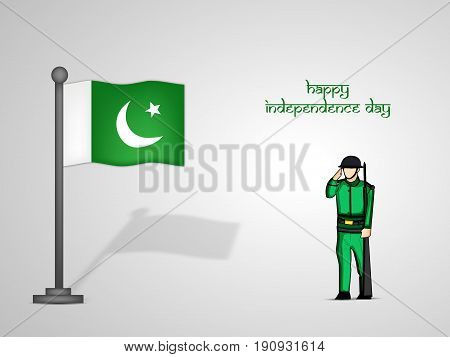 illustration of Pakistan Flag with Happy Independence day text on the occasion of Pakistan Independence day