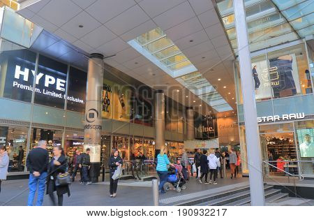 SYDNEY AUSTRALIA - JUNE 1, 2017: Unidentified people visit World Square shopping mall in downtown Sydney.