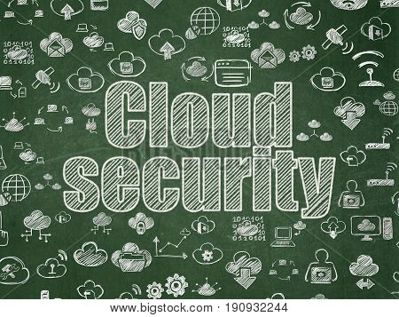 Cloud technology concept: Chalk White text Cloud Security on School board background with  Hand Drawn Cloud Technology Icons, School Board