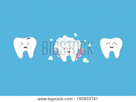 Healthy smiling tooth icon set. Crying bad ill teeth with caries. Toothbrush with toothpaste bubble foam. Before after concept. Cute character. Oral dental hygiene. Baby background Flat design. Vector