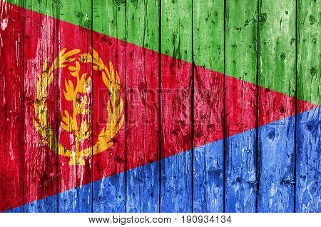 Flag of Eritrea painted on wooden frame
