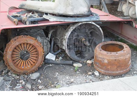 Old gearbox of a truck. Car spare part. Old transmission transmission of a truck or bus