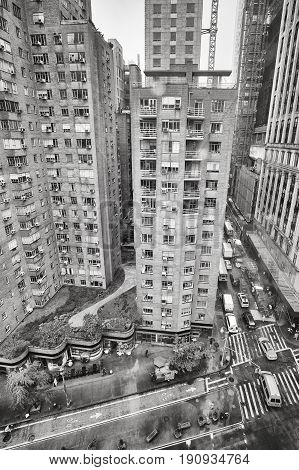 Rainy Broadway From Above, New York City, Usa.