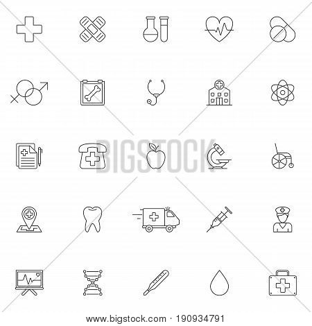 Set of 25 medicine and healthcare symbols. Thin line icons on white background