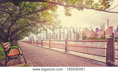 Color Toned Picture Of Promenade In Roosevelt Island, Nyc.