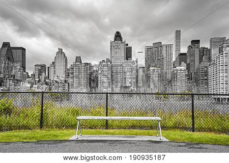 Bench With Manhattan View, New York City, Usa.