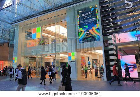 SYDNEY AUSTRALIA - JUNE 1, 2017: Unidentified people visit Microsoft store on Pitt street Sydney.