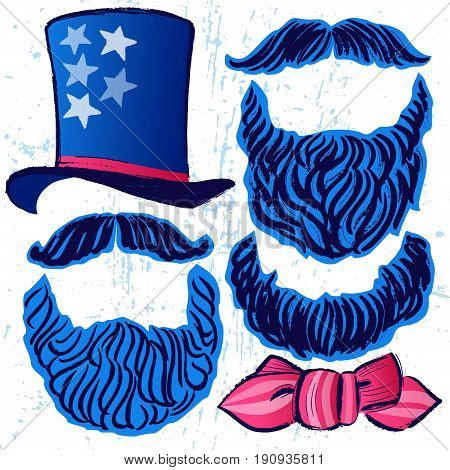 Ink hand drawn vector set of Tall hat, Bow tie, Beards and Mustaches/Independence day artistic elements for creative use