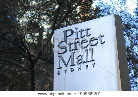 SYDNEY AUSTRALIA - JUNE 1, 2017: Pitt street mall sign. Pitt street mall is a prehistorian street with department stores and shops in downtown Sydney.
