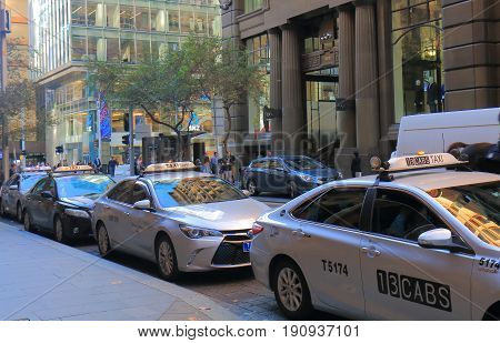SYDNEY AUSTRALIA - JUNE 1, 2017: Taxi wait for passengers in downtown Sydney.