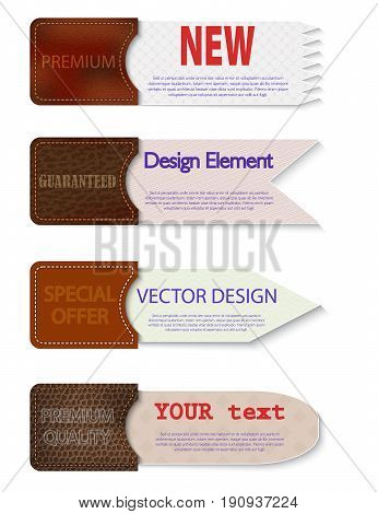 Set of abstract vector paper tags with leather pockets.