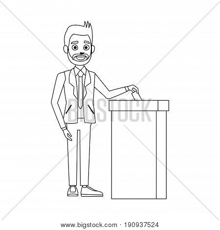 man voting at ballot box democracy concept vector illustration