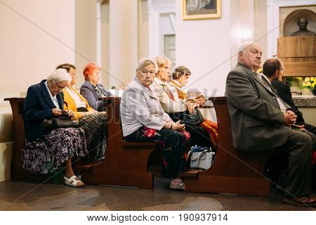 Vilnius, Lithuania - July 6, 2016: People Parishioners pray in Cathedral Basilica of Saints Stanislaus and Vladislaus during celebration of Statehood Day. Holiday in commemorate coronation in 1253 of Mindaugas King.