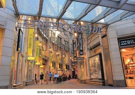 SYDNEY AUSTRALIA - JUNE 1, 2017: Unidentified people visit Sydney arcade shopping street.