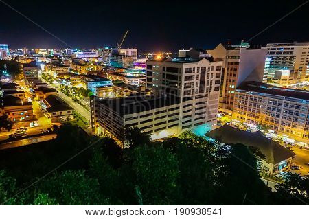 Kota Kinabalu city night view in Kota Kinabalu,Sabah,Borneo,Malaysia.Kota Kinabalu City is hub for islands,resorts,award winning sunsets & Mount Kinabalu.