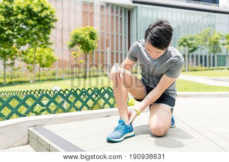 Runner leg and muscle pain during running training outdoor