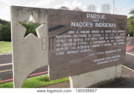 Welcome Message On The Entrance Of Parque Das Nacoes Indigenas