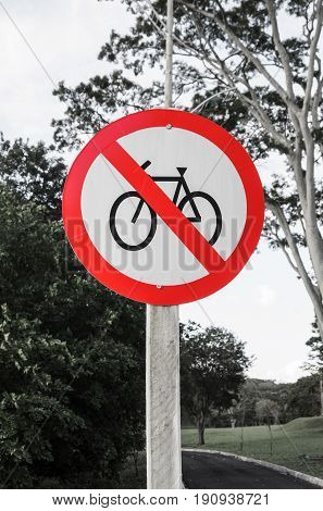 Traffic Sign Of Prohibited  Bicycles