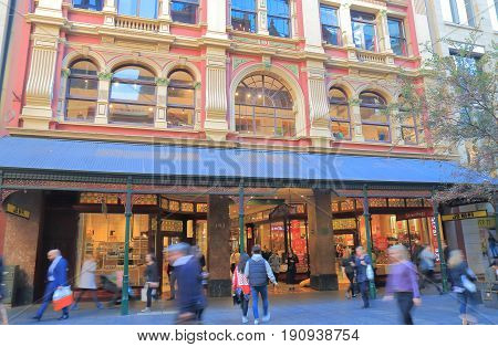SYDNEY AUSTRALIA - JUNE 1, 2017: Unidentified people visit Pitt street mall. Pitt street mall is a prehistorian street with department stores and shops in downtown Sydney.